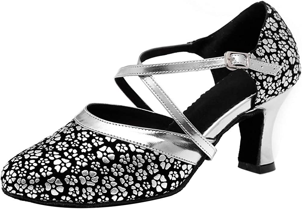 HIPPOSEUS Latin Dance Shoes for Women with Closed Toe Cross Stra
