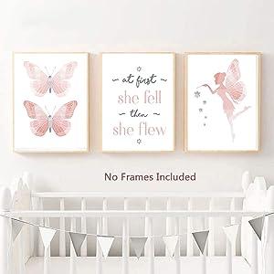 TIICA 3 Pcs Pink Butterflies Nursery Wall Art Prints, Unframed Watercolor Baby Girl Inspirational Quote Wall Decor Artwork, 8