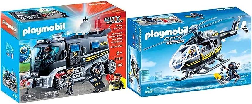Oferta amazon: PLAYMOBIL City Action Vehículo con luz LED y Módulo de Sonido, a Partir de 5 Años (9360) + Helicóptero de Las Fuerzas Especiales Juguete, Multicolor (geobra Brandstätter 9363)