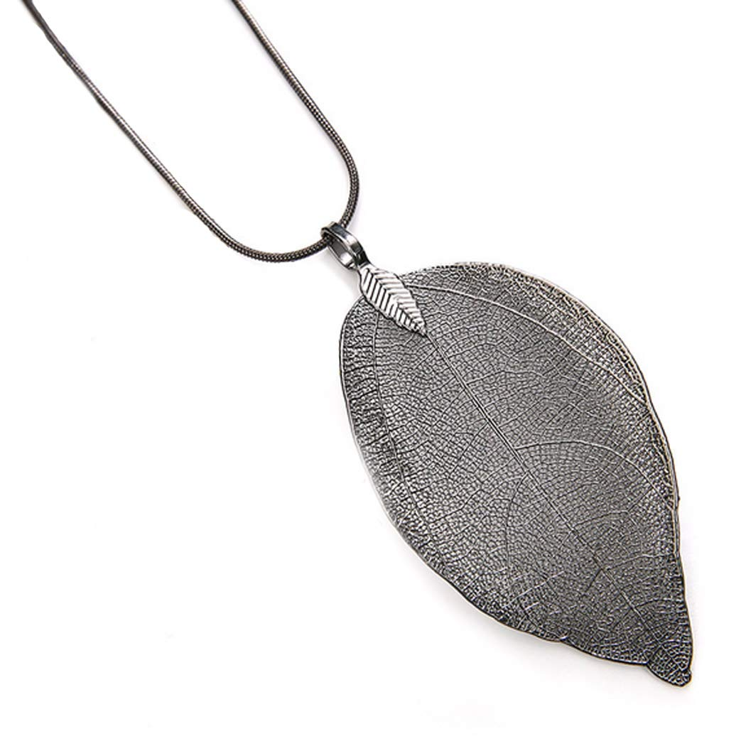 Unicra Fashion Leaf Pendant Necklaces Long Tassel Necklace Y Chain Necklaces Jewelry for Women and girls Bohemian Accessories for Party and Evening (Black)