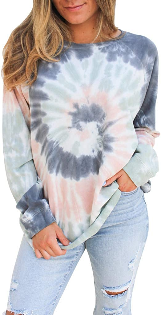 TWGONE Crewneck Sales of SALE items from new works Sweatshirt Tie Dye Sh Color Women Contrast New popularity Shirt