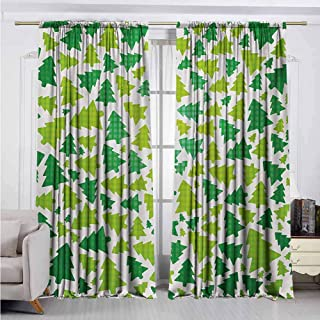 Alston Bertha Christmas Blackout Curtain Simplistic Fir Pine Tree Silhouettes with Checkered Pattern 2 Panel Sets W52 x L63 Inch Fern Green Apple Green White