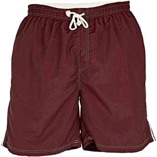 D555 by Duke Kingsize Big Mens Swim Shorts, Full Length Nylon, Elasticated Waist, Burgundy (2XL-6XL)