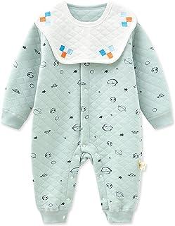 الوليد الطفل بنين فتاة نمط الطباعة رومبير ارتداءها قطعة واحدة بذلة مع مجموعة مريلة للإزالة (Color : Blue, Size : 66CM)