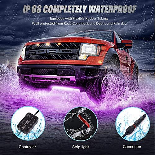 KORJO Car Underglow Lights, 6 Pcs Bluetooth Led Strip Lights with Dream Color Chasing, APP Control 12V 300 LEDs Underbody Lights, Waterproof Underglow Led Light Kit for Cars, Trucks, Boats