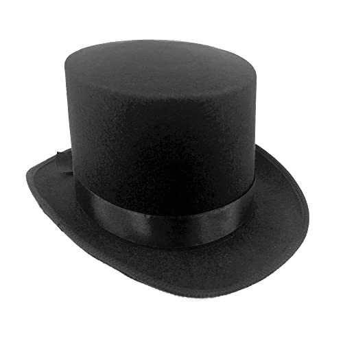 8986e96bb84 JJMS Brand Fantastic Black Top Hat Great Quality Hard Felt top Hat  Delivered By Amazon