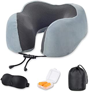 Comway Travel Neck Pillows for Airplanes, 100% Pure Memory Foam Neck Support Pillow for Airplane Travel, Breathable, Adjustable with Washable Cover, 3D Sleep Mask, Earplugs & Portable Drawstring Bag