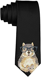 Men's Nerdy Squirrel With Glass Polyester Silk Casual Gentleman Tie Necktie Gift-One Size