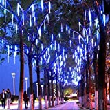 LED Meteor Shower Rain Lights,Outdoor String Lights, Waterproof Garden Lights 30cm 8 Tubes 144leds Snow Falling Raindrop Icicle Cascading Light for Holiday Wedding Xmas Tree Decor (Blue)