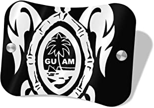 AMZO Customized Home Address Sign,Guam Seal in A Tribal Turtle House Number Plaque, Personalized