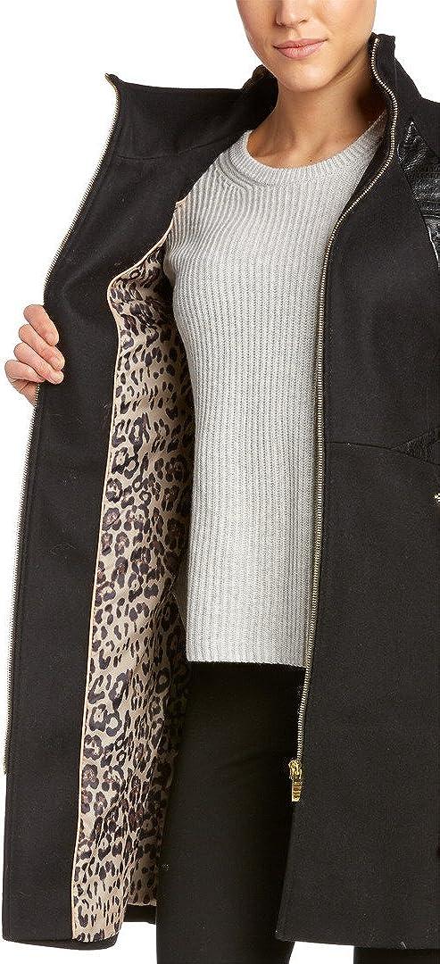 Via Spiga Women's Coat with Faux Leather Trim