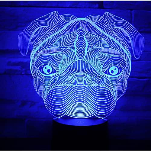 Eld Perro de luz de Noche LED 3D con luz de 7 Colores para la lámpara de decoración del hogar Visualización increíble Ilusión óptica Regalo del día de los niños Impresionante