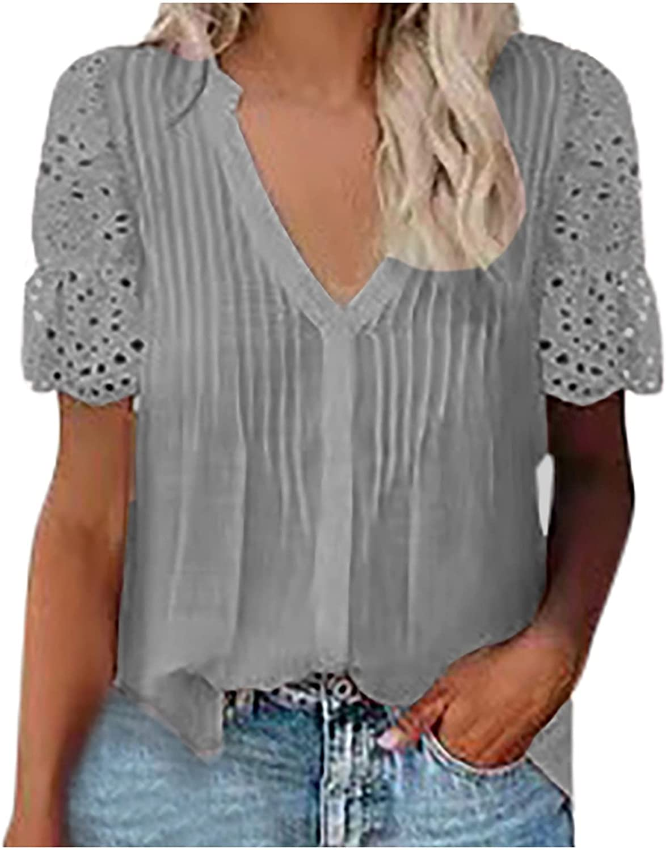 Women's V Neck Lace Crochet Eyelet Tops Short Sleeve Casual Shirts Blouses Vintage Elegant Tunic Tops