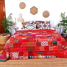 Jaipurtextilehub Elegant Designs Indian Patch Work Silk Kantha Quilt 90x108 Inch Bedspread Throw Blanket Red, Bohemian Bed...