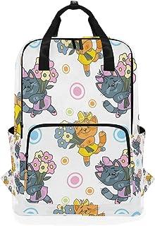 Montoj Mochila de Viaje Gris y marrón Gato con Flores Mochila Escolar