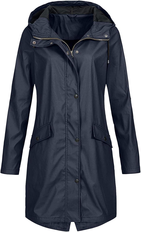 Women's Long Rain Jacket Waterproof Lightweight Hooded Raincoat Active Outdoor Trench Coats Plus Size Windbreaker