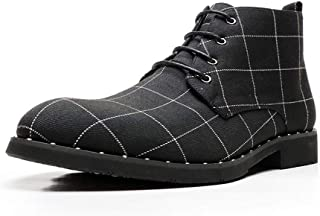 CHENDX Shoes, Personality Retro Ankle Non-Slip Boots for Men Casual Chukka Boot Lace up Microfiber Leather Cloth Low Heel Round Toe Lightweight Grid Pattern (Color : Black, Size : 40 EU)