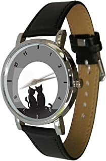 Cats Watching The Moon Design Fashion Watch. Ideal Cat Gift Idea for Any Cat Lover (C4)