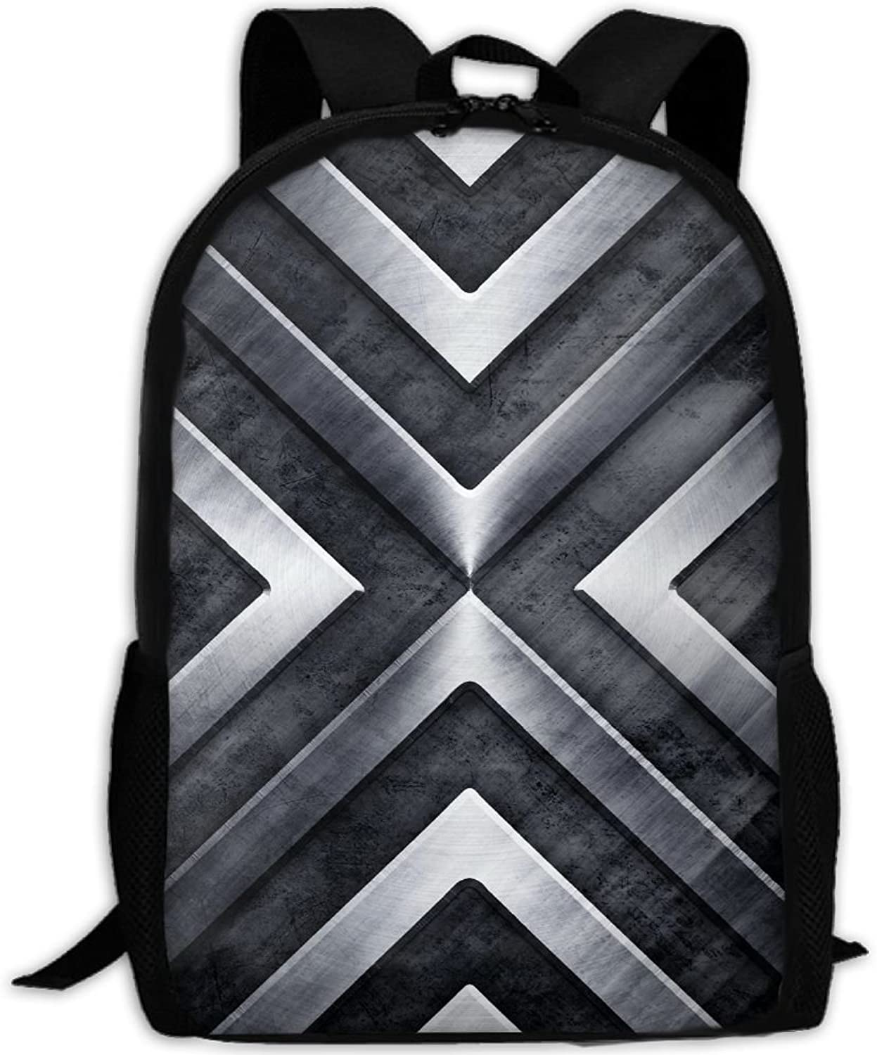 551b9b376898 Backpack Travel Hiking School Bags Silvery Geometry Abstract Daypack ...