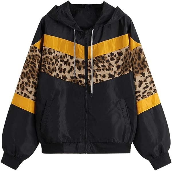 Honestyivan Women S Fashion Leopard Patchwork Zip Pocket Long Sleeve Hoodie Trench Coat Casual Loose Sport Outwear Tops