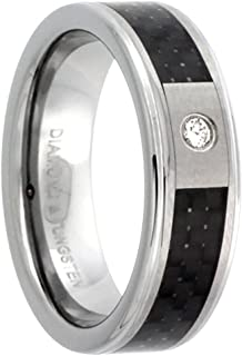 Sabrina Silver 6mm Tungsten Diamond Wedding Ring for Him & Her Black Carbon Fiber Inlay Beveled Comfort fit, Sizes 4 to 9.5