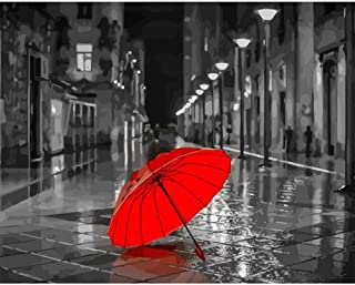 Red Umbrella Raining Oil Painting By Numbers Abstract Hand Painted Kits Acrylic Modern Wall Art For Home Decor 40×50Cm,Fra...