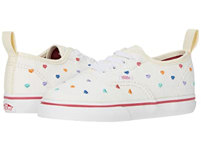 Vans Kids Authentic Elastic Lace (Infant/Toddler) ((Rainbow Cord) Classic White/True White) Girls Shoes