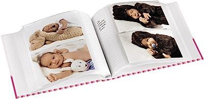 """Hama Album photo """"Moni"""" (pour 200 photos au format 10 x 15 cm, petit album de taille 22,5 x 22,5 cm, album photo bébé de 100 pages blanches, ciel, élégant, pour filles, enfants, bébés) Rose"""
