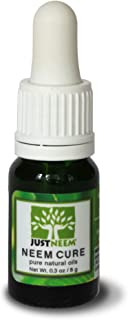 JustNeem Neem Cure Oil - Natural - Best on Acne, Psoriasis, Eczema, Rosacea, Cold Sores, Athlete's Foot, and more! - Antiviral, Antifungal, Antibacterial - 0.3 ounce