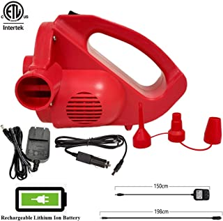 Electric Rechargeable Portable Air Pump Quick-Fill Inflator/Deflator for Air Mattress Inflatable Pool-High Power,Cordless(not charge while using)With 3 Universal Nozzles,2 Chargers(AC 110-120V/DC 12V)