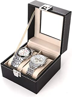 Watch Boxes for Men 4 Slot, Watch Display Organizer Box for Men Women Pu Leather Jewelry Case Watches Storage