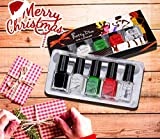 PrettyDiva Nail Stamping Polish - 4 Bottles Nail Art Lacquer Polish Green Red Black White Nail Plate Polish Varnish and Free Fast Drying Top Coat for Manicure Printing