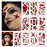 Lunriwis 10pcs Tatuajes Temporales de Cicatriz Sangrienta de Halloween,Disfraces Impermeables Tatuajes de Zombies,Etiqueta Engomada del Tatuaje de Maquillaje de Heridas Realistas,