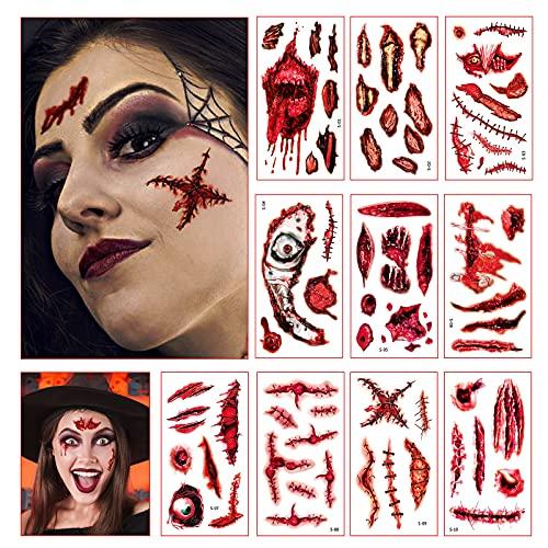 Lunriwis 10pcs Tatuajes Temporales de Cicatriz Sangrienta de Halloween,Disfraces...