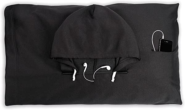 HoodiePillow Hooded Pillowcase Black