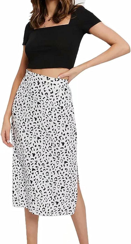 COSYOU Womens Pencil Skirt Dot Print Split Sexy Midi Casual Dress Skirt