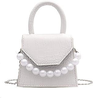 None/Brand Pearl Handle Super Mini Design Leather Lady Shoulder Bag Female Travel Handbag