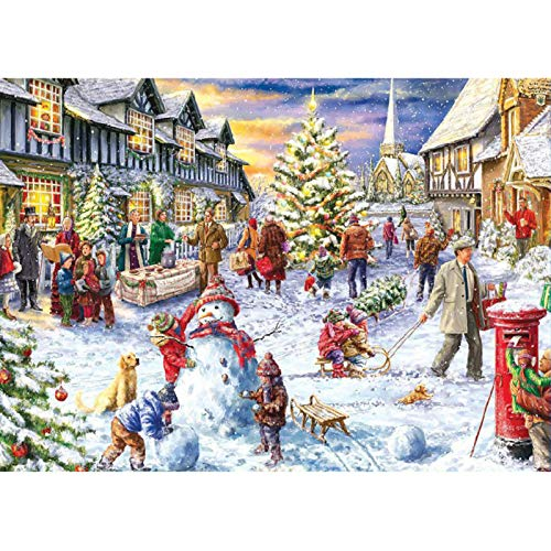 Weihnachts-Puzzle, 1000-teiliges Puzzle - Bauen eines Schneemanns an einem Schneetag/Besuch des Weihnachtsmanns, Perfektes Weihnachtsfest für Kinder, Kinder, Erwachsene