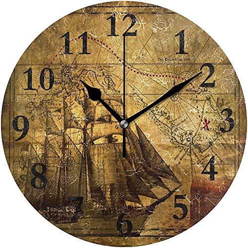 Cy-ril Runde Wanduhr Antike Karte Kompass Piratenuhr für Wohnkultur Kreativ