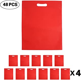 Set of 48 Promotional Nonwoven Heat Seal Reusable Tote Party Supplies Favor Bags, Goodie Bags, Gift Bags Bulk with Die Cut Handles (Red)