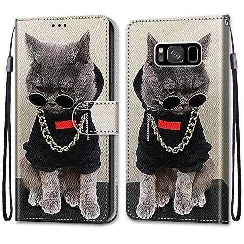 Nadoli Handyhülle Leder für Samsung Galaxy S8,Bunt Bemalt Cool Gold Kette Katze Trageschlaufe Kartenfach Magnet Ständer Schutzhülle Brieftasche Ledertasche Tasche Etui