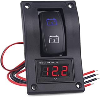 WATERWICH DC12V-24V LED Voltmeter Voltage ON-Off Buttom Ignition Dual Battery Test Panel Toggle Rocker Switch Panel for RV Car Vehicle Truck Trailer Yacht SUV Marine Boat