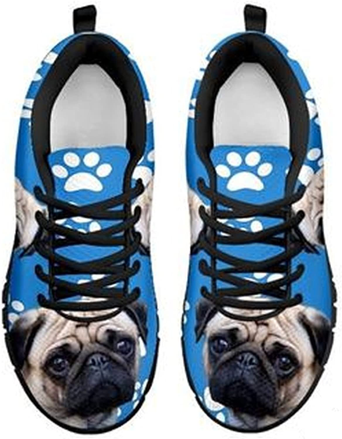 shoestup Paws Print Pug Dog Print Men's Casual Running shoes White