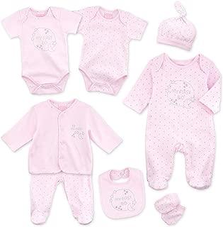 Baby Mädchen 5 Teile Set Strampler Body Mütze Latz Handschuhe Schwan floral rosa