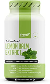 Lemon Balm Extract Capsules - Strongest 600mg Servings - Calms, Improves Skin, Sleep, Memory, Alertness, Anxiety, Stress, Appetite, Indigestion - Third Party Tested