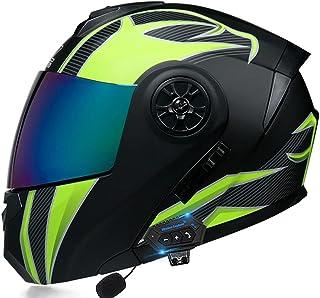 Motorcycle Bluetooth Helmet, Front Flip-Type Modular Full Helmet Double Sun Visor Motocross MTB DOT Certified Helmet for A...