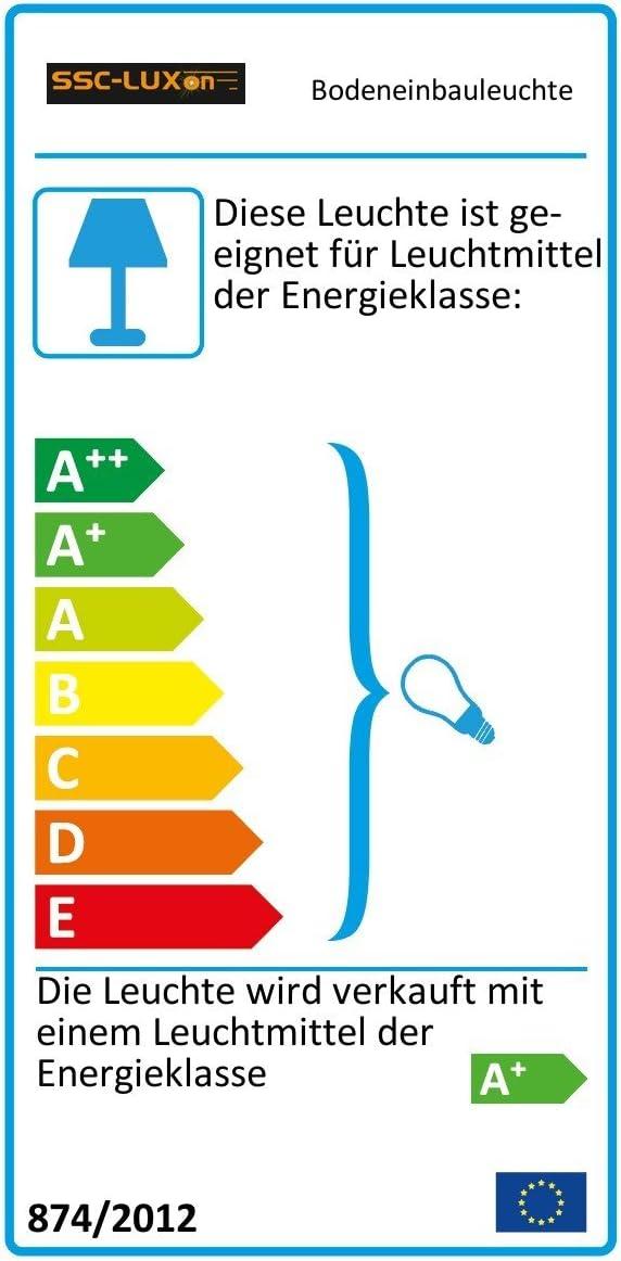 LED Bodeneinbauleuchte MARNE für Aussen IP67 Bodenstrahler in rund Optik Edelstahl gebürstet inkl. dimmbarem LED GU10 7W warmweiß Eckig Warmweiß