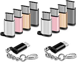 USB Type C Adapter 10 Pack Micro USB Female to USB C Male Converter Usb-c Charger Cable Connector with Keychain Fit Samsung Galaxy S10 S10e S9 S8 Plus S9+ S8+ Note 10+ 10 9 8 LG V40 V30 V20 G7 G6 Moto