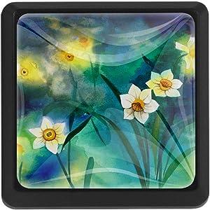 Fashion Cabinet Drawer Knobs Cupboard Dresser Chest Daffodil Floral Flower Pull