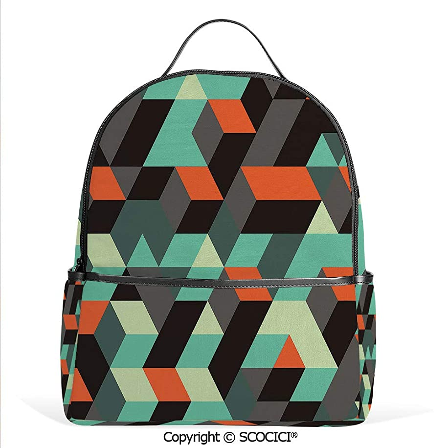 All Over Printed Backpack Geometric Print with Squares Triangles And Shadows Zig Zag Decorative Image,Multicolor,For Girls Cute Elementary School Bookbags